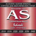 ФЕДОСОВ AS210 Комплект струн для акустической гитар COPPER Round Wound Extra Light ( .010-.049, 6-стр., медная навивка на граненом керне)